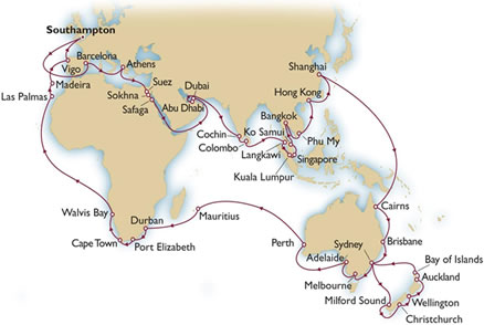 Cunard QM2 World Cruise 2013 itinerary Map