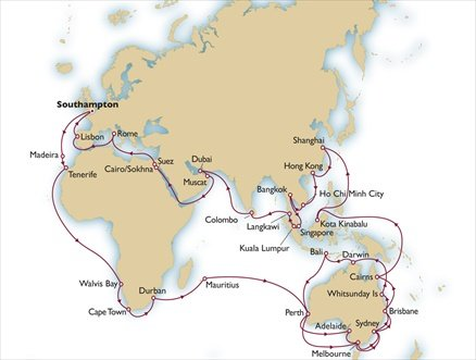 QM2 Cunard Queen Mary 2 World Cruise 2014 itinerary map