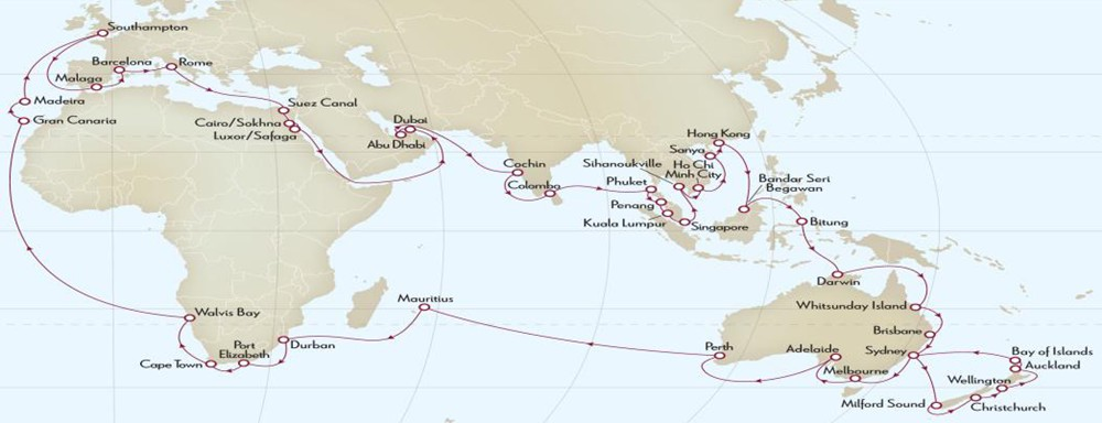 QM2 Cunard Queen Mary 2 World Cruise 2015 itinerary map