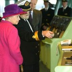 HM Queen Elizabeth II at the QM2 ship christening ceremony 2004 January 8